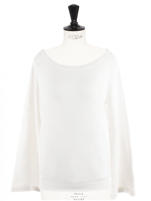 Deep round neckline and wide sleeves white cashmere wool sweater Retail price €750 Size XS to S