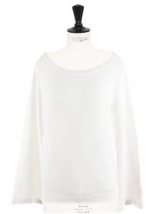 Pull décolleté rond manches large en cachemire blanc Prix boutique 750 Taille XS à S