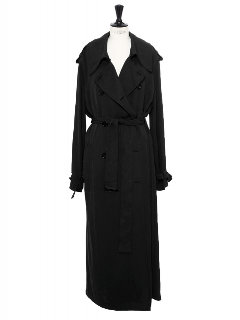 Trench LUCIE long en toile satinée noir NEUF Prix boutique 750€ Taille 34 à 38