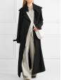Trench LUCIE long en toile satinée noir NEUF Prix boutique 750€ Taille 36/38