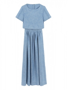 Robe longue manches courtes en chambray bleu paloma Prix boutique $1150 Taille 36