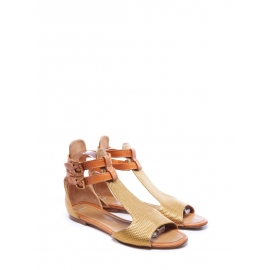 Copper gold embossed leather flat sandals Retail price €480 Size 40.5