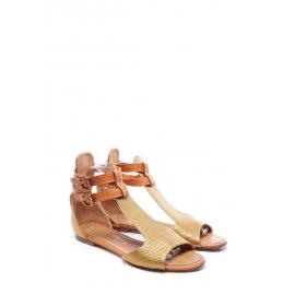 Sandales plates bout ouvert en cuir embossé doré et caramel Px boutique 480€ Taille 40,5