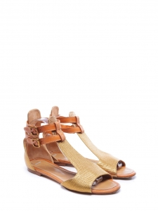 Copper gold embossed leather flat sandals Retail price €480 NEW Size 36