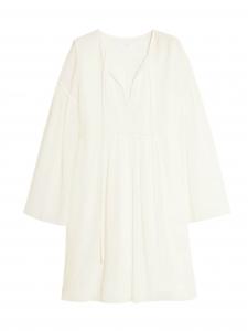 Robe bohème manches longues en crépon de soie et coton blanc ivoire Prix bouteille 1290€ Taille 38