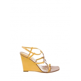 Tan brown leather and yellow patent leather wedge sandals Retail price $980 Size 38