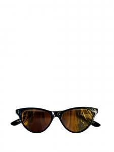Lunettes de soleil Norma Jeanne monture papillon noire verres miroirs jaune doré NEUVES Prix boutique 350€