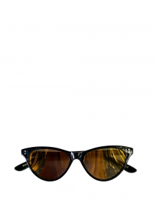 Norma Jeanne black cat-eye sunglasses with gold yellow mirror lenses Retail price €350 NEW
