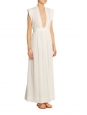 Sachi white voile maxi dress with plunging neckline Retail price €920 Size 36