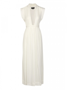 Sachi white voile maxi dress with plunging neckline Retail price €920 Size 36