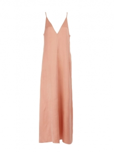 Pink satin V-Neck slip dress with thin straps Retail price 485€ Size 38