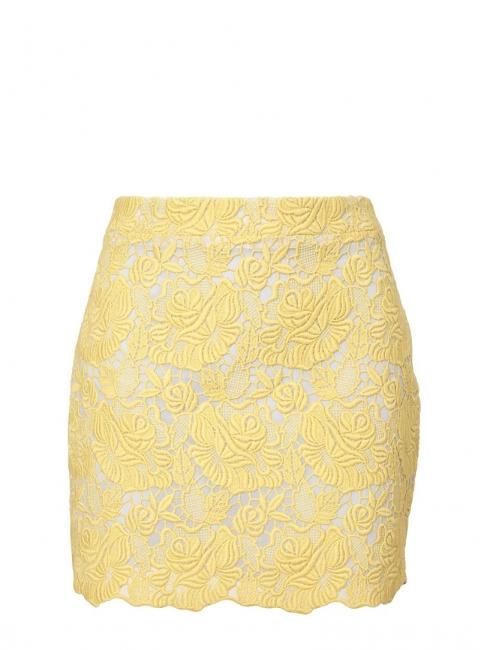 Jupe Smith en dentelle de coton jaune pâle et gris clair Px boutique 580€ Taille 40