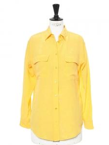 Chemise manches longues Signature en soie jaune Px boutique 220€ Taille 36