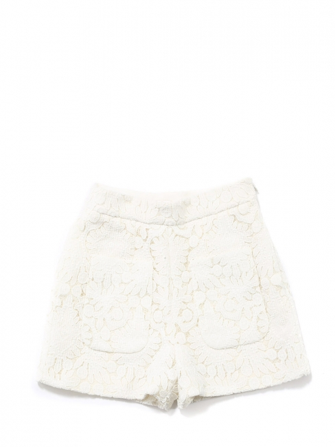 High waist shorts embroidered with fine lace Retail price €950 Size 36