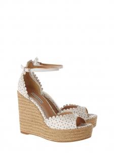 Sandales compensées HARP en cuir fleuri blanc Prix boutique $545 Taille 38,5