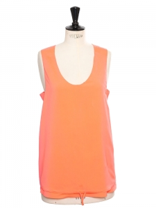Neon orange silk sleeveless tank top Retail price €350 Size XS/S
