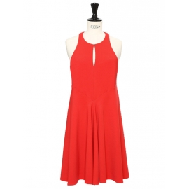 Poppy red crepe sleeveless fit and flare dress Retail price €600 Size 36