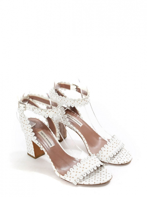 LETICIA White scalloped-leather block heel sandals Retail price €625 Size 37