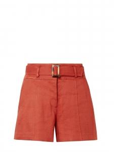 Short MAKAYLA taille haute en lin rouge et ceinture écaille Prix boutique 325€ Taille 34