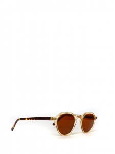 P2 crystal yellow and tortoiseshell frame sunglasses with smoked brown lenses Retail price €260 NEW