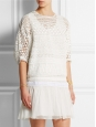 White guipure lace and crochet short sleeves top Retail price €1480 Size 34 to 36