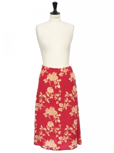 Light yellow and strawberry red fluid midi skirt Size 36