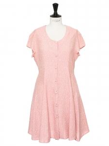 Robe manches courtes ceinture ruban en coton rose imprimé fleuri blanc Taille 38