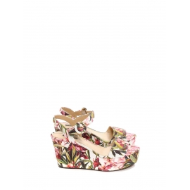 Pink and green floral print canvas BIANCA wedge sandals Retail price €575 Size 39
