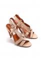 Sandales à talon en satin rose clair Prix boutique 650€ Taille 40