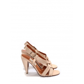 Light pink satin heel sandals with crossed straps Retail price €650 Size 40