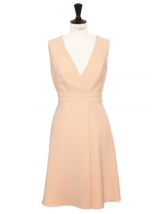 Light pink crepe strapless cinched dress with V neckline Size 34