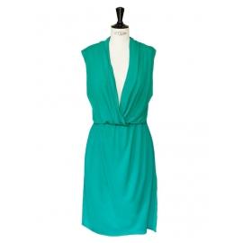 Emerald green sleeveless draped dress Retail price €1000 Size 36