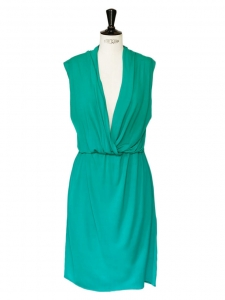 Emerald green sleeveless draped dress Retail price €1000 Size 36