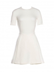 Robe manches courtes cintrée et évasée en jersey blanc Prix boutique 560€ Taille XS