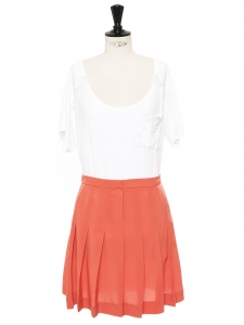 Peach coral pink silk crepe pleated skirt Retail price €500 Size 36