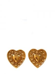 Boucles d'oreilles clip doré à l'or fin en forme de coeurs