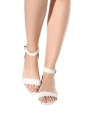 LETICIA White scalloped-leather flat sandals with ankle strap Retail price €550 Size 37.5