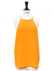 Débardeur dos nageur en soie orange abricot NEUF Px boutique 198$ Taille S