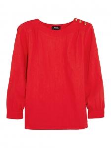Blouse manches longues en coton et lin mélangé rouge vif et boutons dorés Taille 36
