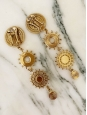 Sun and medal gold tone brass long clip earrings Retail price €350