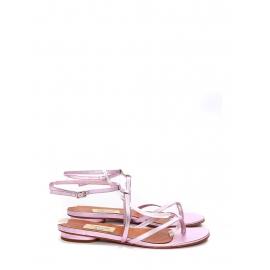 Pink metallic leather t-bar thong flat sandals Retail price €550 Size 37.5