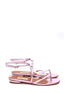 Pink metallic leather t-bar thong flat sandals Retail price €550 Size 37.5