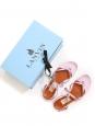 Sandales plates tong bride cheville en cuir métallisé rose poudre Px boutique 550€ Taille 37,5