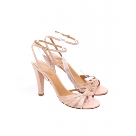 Nude beige pink leather ankle strap heel sandals NEW Retail price €500 Size 38.5