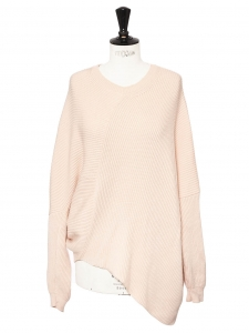 Blush pink ribbed wool blend crew neck sweater Retail price €750 Size 34