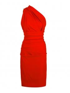 Robe de cocktail PLAZA asymétrique dos nu en crêpe stretch rouge Px boutique 1150€ Taille 34