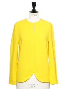 Sunny yellow crepe round neck long sleeves blouse NEW Retail price €480 Size 36