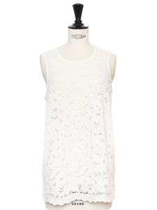 White cotton lace sleeveless top Retail price €495 Size 36