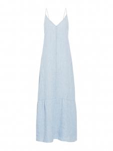 Robe Maureen longue en chambray de lin bleu clair fines bretelles décolleté V Prix boutique 240€ Taille XS