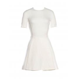 Robe manches courtes cintrée et évasée en jersey blanc Prix boutique 560€ Taille L